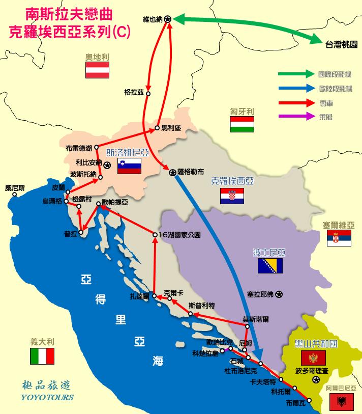 克羅埃西亞旅遊路線